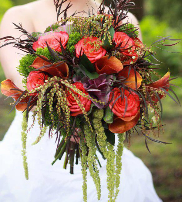 fall bridal bouquet with agonis