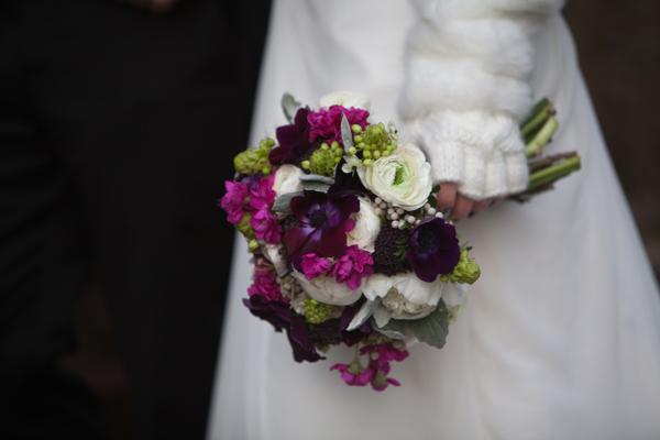 bouquet purple white green magenta