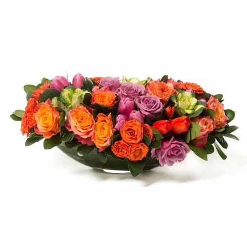 orange rose centerpiece