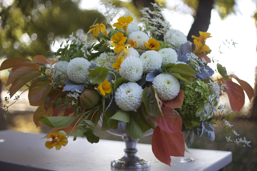 fall flowers with orange, green and white