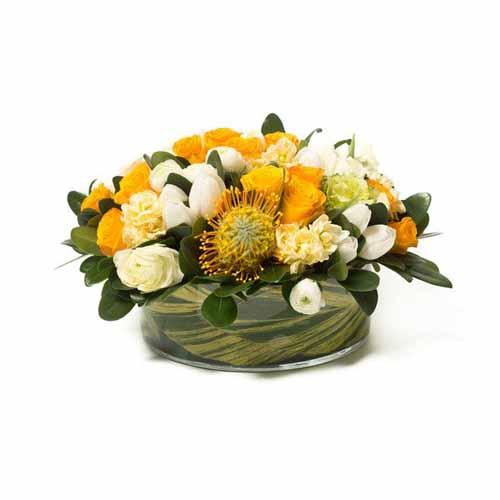 yellow flower contemporary centerpiece
