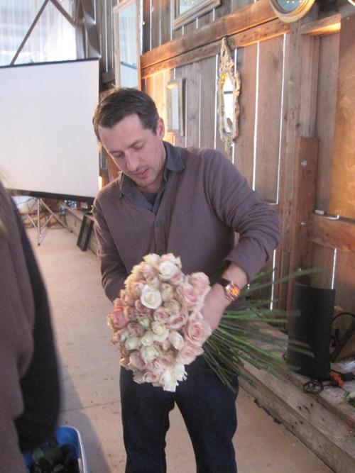Chuck making a bridal bouquet