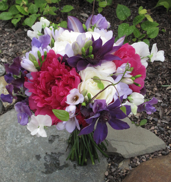purple clematis hot pink peony bouquet