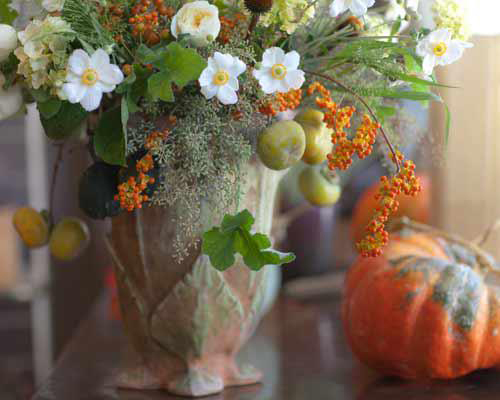 persimmons and japanese anemones