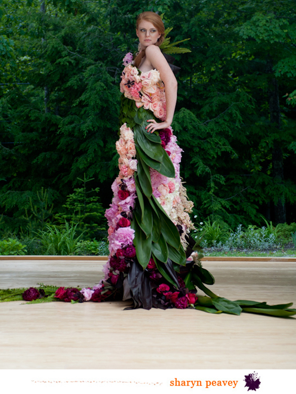 dress constructed with flowers