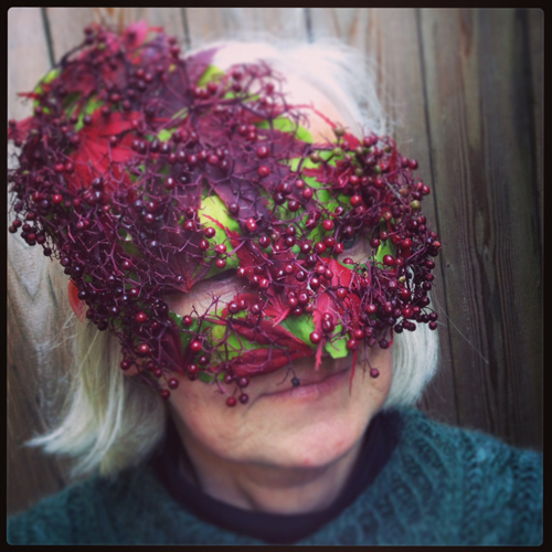 Francoise's and her awesome red & green mask