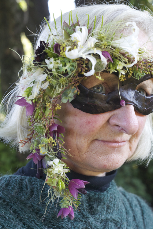Francoise Weeks looking like another flower super-hero! Check out that purple bell vine weaved into the mask, I brought that little special vine from my garden just for Francoise.