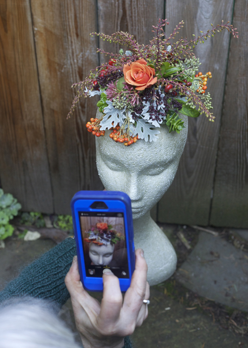 fall flowers on the hair