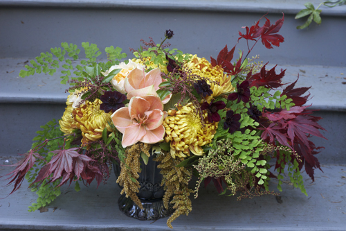 fall flowers with gold and peach