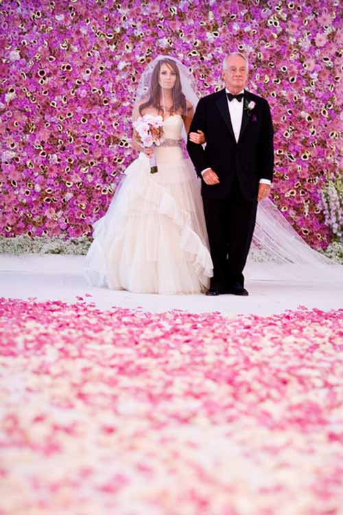 purple flower wall for a wedding