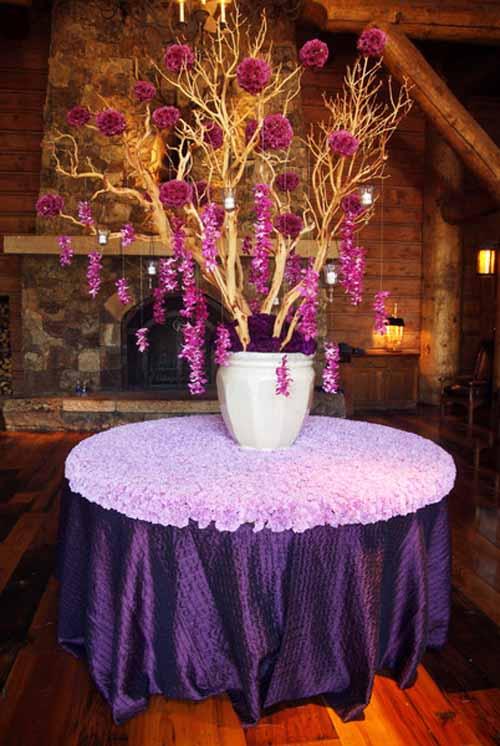 Manzanita tree with purple orchids