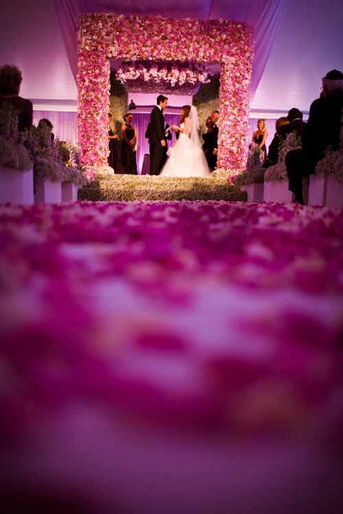 purple flower ceremony for wedding