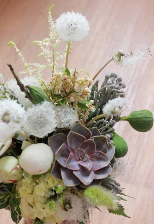 white flowers and succulents