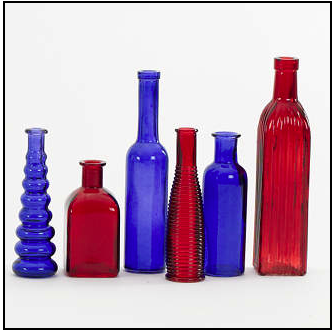 COLORED VINTAGE BOTTLES