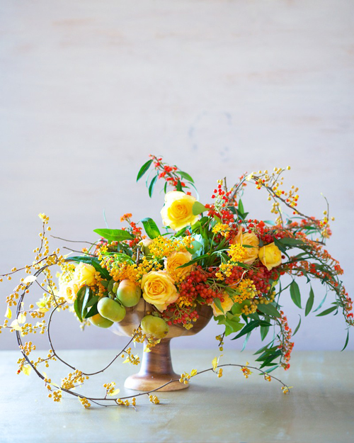 persimmons and flowers