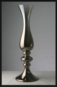 silver sculpted vase