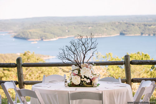 manzanita branch with pink and white flowers for centerpiece