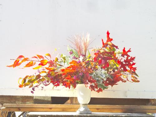 orange fall foliage centerpiece