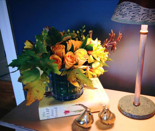 fall roses and leaves arrangement