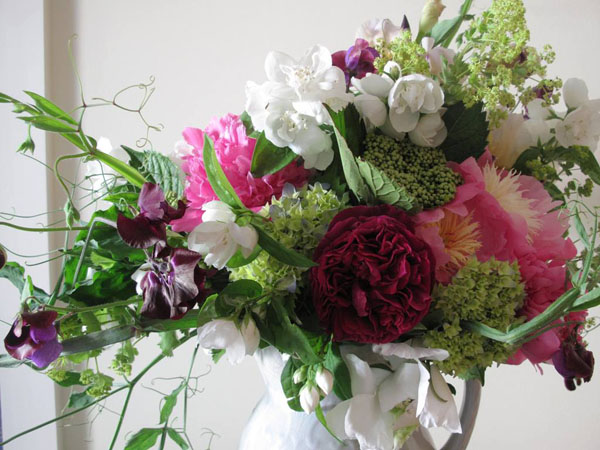 Designed by Debra Prinzing, bouquet of peonies, sweet peas and hydrangea