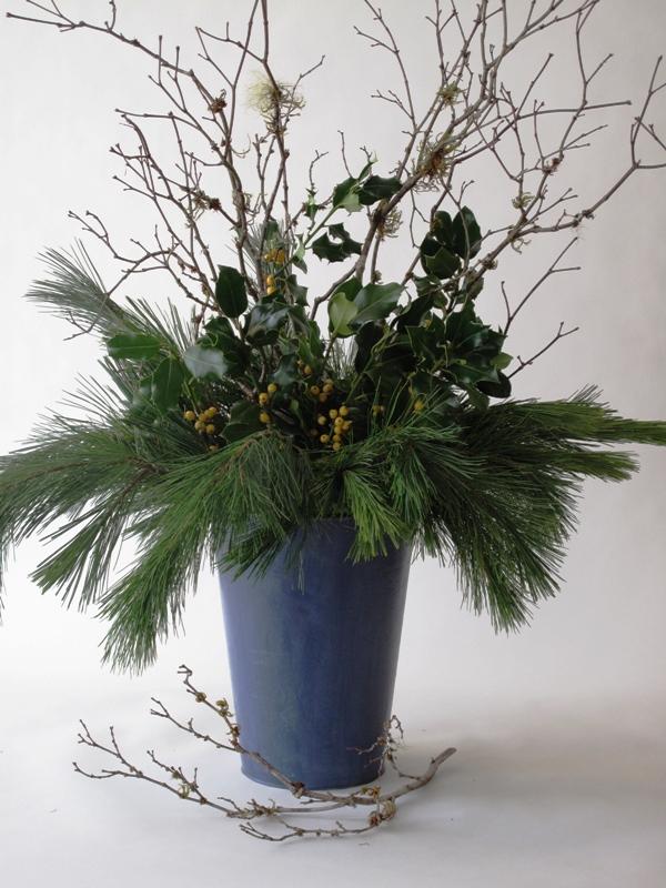 all winter greenery arrangement