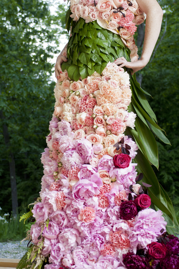 dress made out of flowers