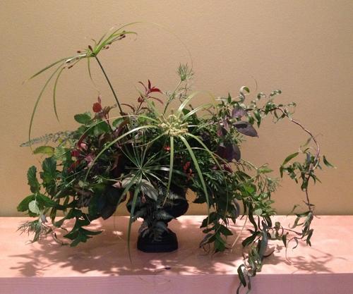 all green floral arrangement