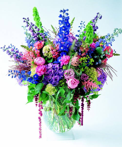 purple pink and blue large flower arrangement