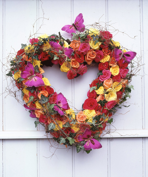 heart wreath of colorful flowers
