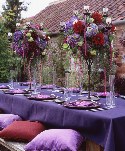 purple and burgundy flower arrangements
