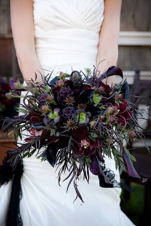 black and plum bridal bouquet