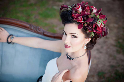 burgundy floral crown
