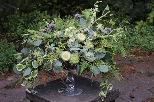 green textured compote flower arrangement