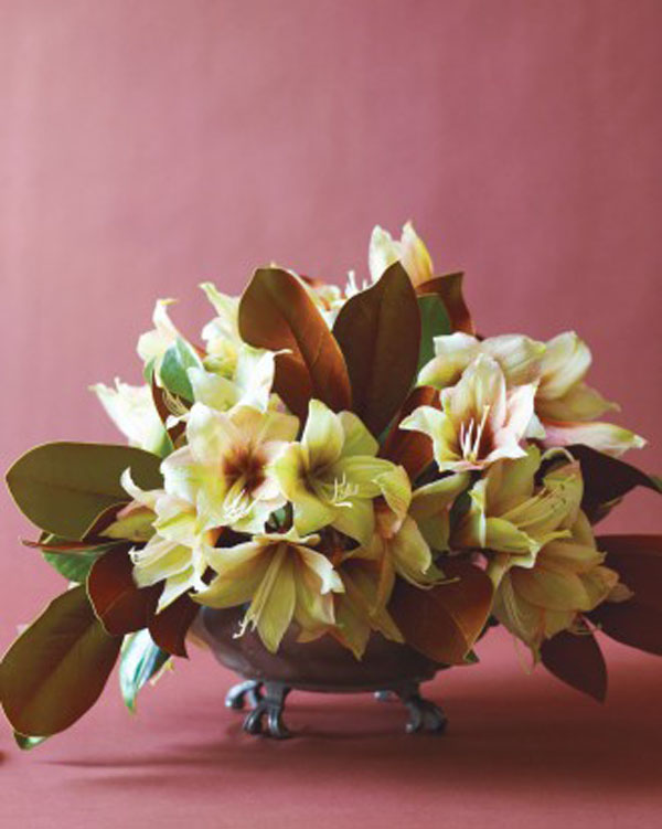 magnolia leaf and green amaryllis centerpiece