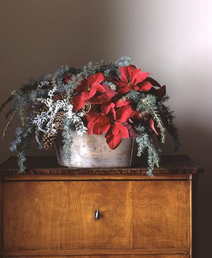 red poinsettia flower arrangement