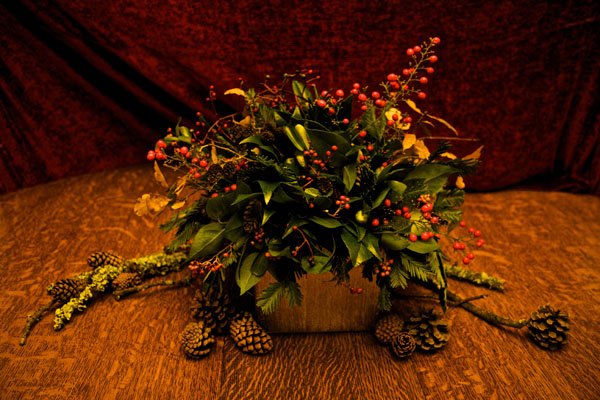 green foliage and berry arrangement