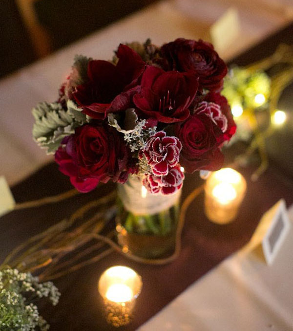red amaryllis centerpiece