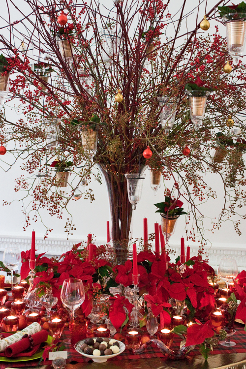 Red Christmas Table with Poinsettias