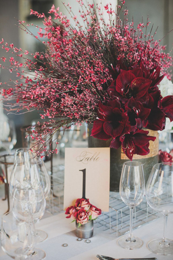 burgundy amaryllis contemporary centerpiece