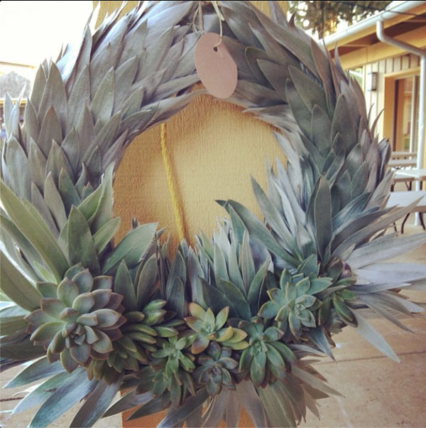 grey christmas wreath with succulents