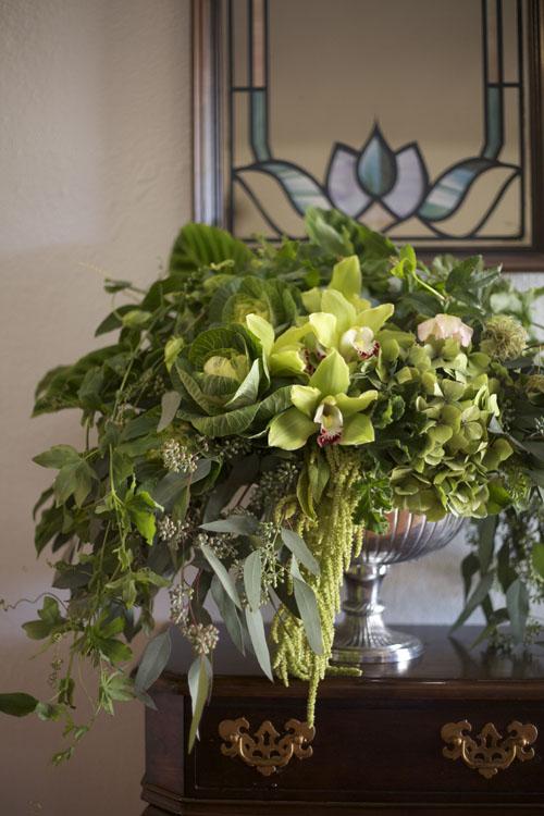 all green flower arrangement