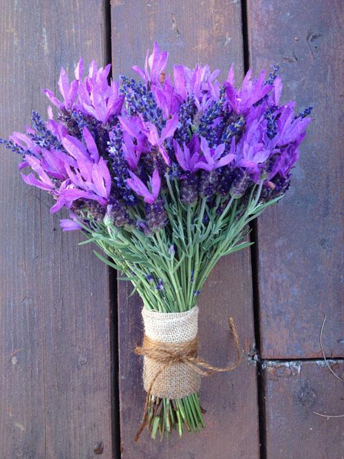 lavender bridal bouquet wrapped with burlap