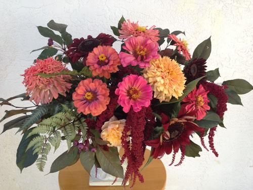 Zinnia and Chocolate sunflower arrangement