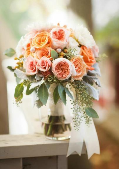 Park Place Design, peach and white bridal bouquet