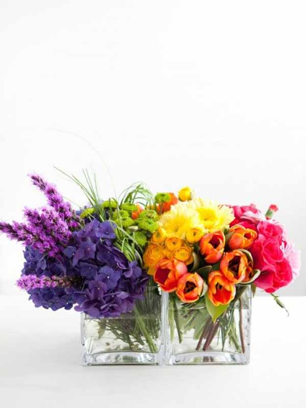 Persimmon Floral - rainbow flower arrangement