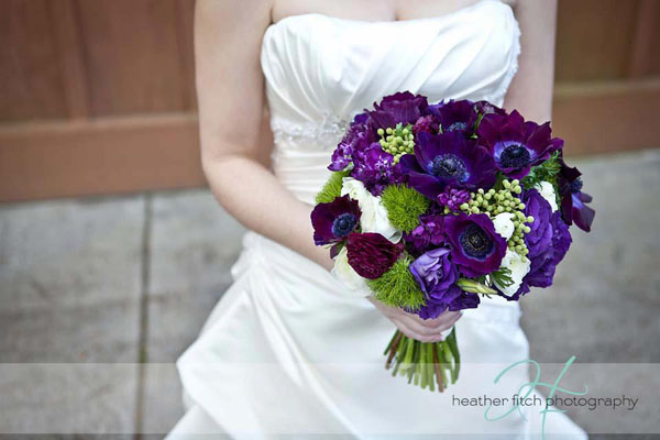 purple and green bridal bouquet designed by Lora Losinger