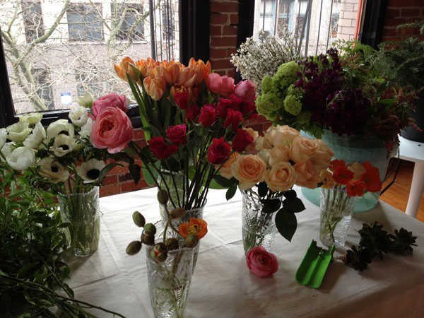 Washington and Oregon Grown fresh flowers - garden roses from Peterkort, anemones, viburnum, poppies.