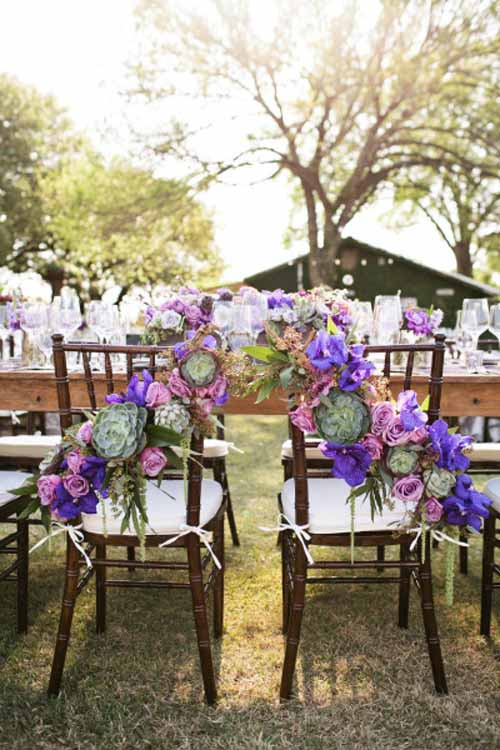 BZ events, Bride and Groom Chair Decorations purple and green flowers