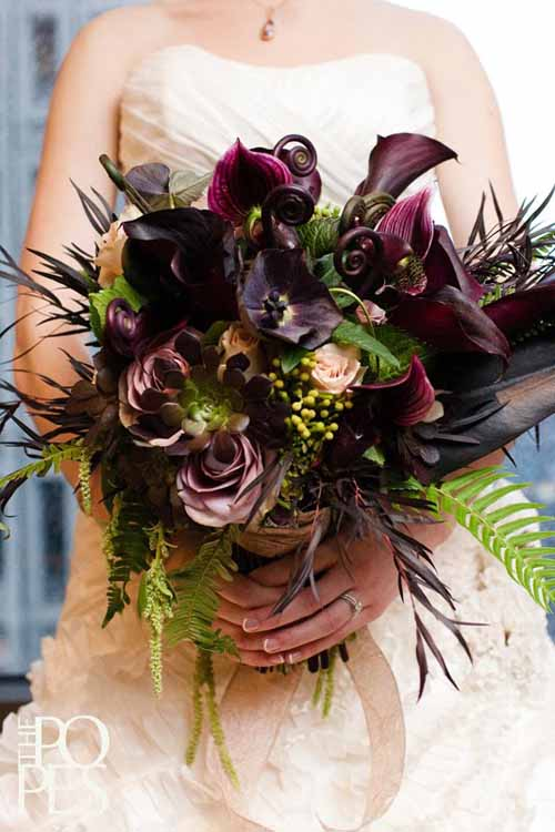 Flora Nova, Bridal bouquet of lady slipper orchids fern fronds calla lilies and roses