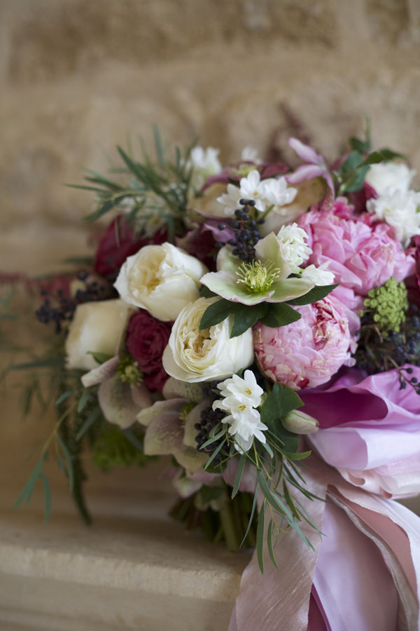 Holly Chapple's bridal about of pink peonies, hellebores and garden roses
